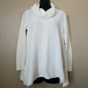 Jeanne Pierre white cable knit cowl neck sweater